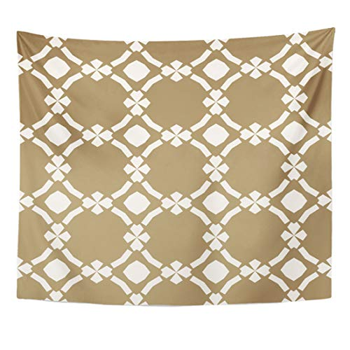 - Emvency Tapestry Golden Ornamental in Oriental Abstract Geometric with Floral Shapes Diamond Figures Grid Lattice Elegant Home Decor Wall Hanging for Living Room Bedroom Dorm 50x60 Inches