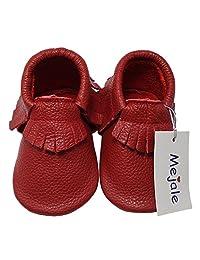 Mejale Baby Soft Soled Leather Moccasin Tassel Slip on Infant Toddler Shoes Pre-walker
