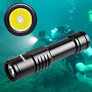 ORCATORCH D520 Diving Flashlight 1000 Lumens Scuba Diving Light Submarine Light Underwater 150m Scuba Safety Lights( Light+Battery+Charger) (Black)