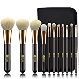 FEIYAN Professional Natural Goat Soft Hair Brushes For Makeup 11pcs Golden Black Cosmetic Brush Set for Face Powder Blush Foundation Concealer EyeShadow With Travel Zipper Pouch