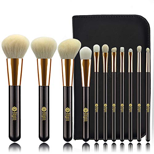 FEIYAN Makeup Brushes Set Goat Natural Hair with Bag (11pcs Black Gold) (Brushes Goat Hair Makeup)