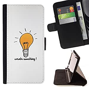 DEVIL CASE - FOR Sony Xperia Z1 L39 - Create Something Motivational - Style PU Leather Case Wallet Flip Stand Flap Closure Cover