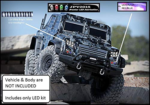 (JPV2015 Genuine Product -Traxxas TRX4 Tactical TRX-4 LED Light Kit - Headlights & Police - 16 LEDs - Premium Quality - Handmade in USA Exclusively)
