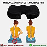 Coccyx Seat Cushion Orthopedic, Luxury Chair Pillow, 100% Memory Foam, For Back Pain Relief & Sciatica & Tailbone Pain Back Support - Ideal Gift For Home Office Chair Car Truck Driver, Washable Cover