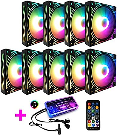 COOLMOON Ventilador RGB de Onda Gigante Ventilador de chasis de 12 cm Computadora de Escritorio Silenciador Sinfonía Que Cambia de Color Ventilador, Controlador (Color : 9 Fan)