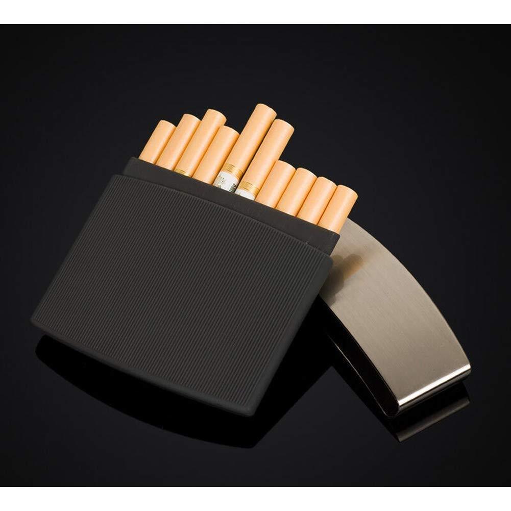 Lcxligang Alloy Frosted Cigarettes Case Retro Cigaret Box Double Sided Metal Cigarette Holder for 10 Regular Cigarettes