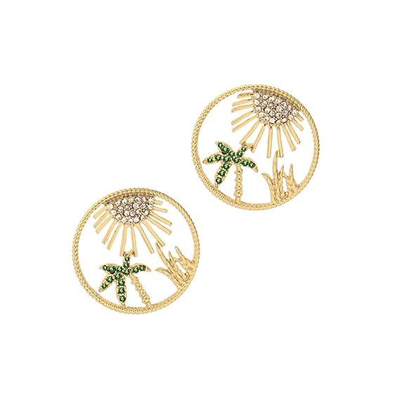 Pendientes de tuerca para mujer, diseño de hojas de coco con círculos huecos, joyería de regalo