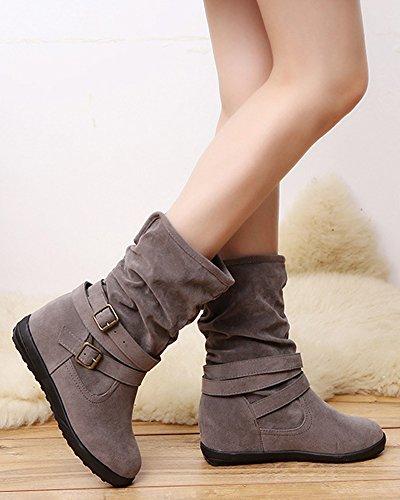 Di Autunno Scarpe Grigio Invernali Stivaletti Tacchi Peluche Boots Camoscio Minetom Bassi Fibbia Stivali Donna Eleganti Moda Caviglia wa8qzI