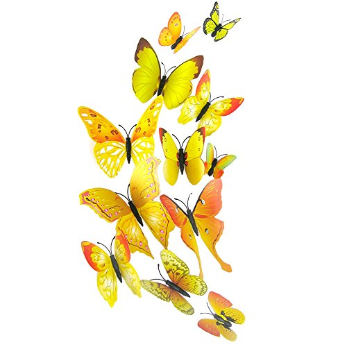 12 PCS 3D Vivid Special Man-made Lively Butterfly Art DIY Decor Wall Stickers Decals for Home Nursery Decoration Yellow