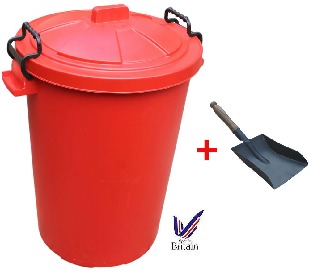 85L 85 Litre Red Plastic Bin Ideal for Rubbish / Food Storage / Recycling / Waste with Lockable Handles + Free Shovel