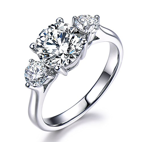 CZ Cubic Zirconia 925 Sterling Silver White Gold Engagement Ring 3 Stones Bridal Wedding Promise by Milejewel CZ engagement rings