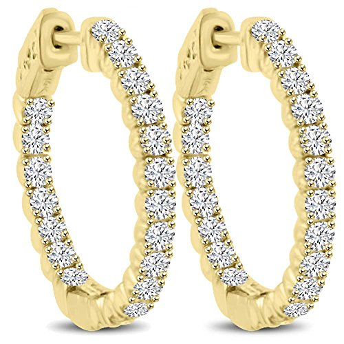 Diamond Tiffany Style Earrings - 2.10 ct Ladies Round Cut Diamond Hoop Huggie Earrings in Yellow Gold
