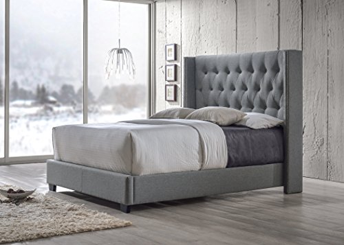 Baxton Studio Katherine Fabric Nail Head Trim Wingback Bed, Queen, Gray