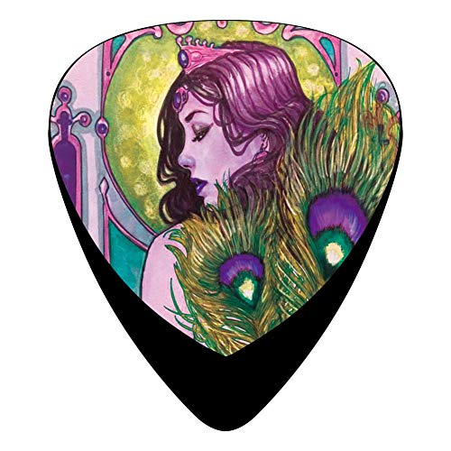 KINGOCK Greek Mythology Queen of Gods Hera Wearing Peacock Feathers Dress Celluloid Guitar Picks Unique Guitar Gift for Bass, Mandolin, Electric & Acoustic Guitars,12 Pack]()