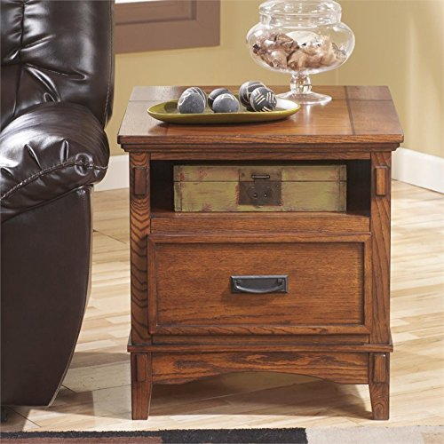 Ashley Furniture Signature Design - Cross Island End Table - 1 Drawer - Rectangular - Medium Brown - Mission Square Coffee Table