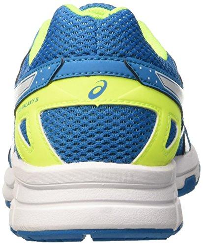 Asics Unisex-Kinder Gel Galaxy 9 GS Laufschuhe Mehrfarbig (Blue Jewel/White/Safety Yellow)