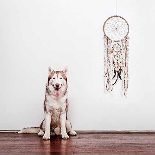 "Bracelets Wooden Burning (Caught Dreams | Boho Style Dream Catcher | Handmade Bedroom Wall Decoration | Craft Ornament Gift | Bohemian Influenced Natural String with Beads & Feathers | 10.5"" Diameter & 36"" Long)"