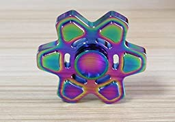 Inspirationc EDC Fidget Hand Spinner,Hand Fidget Spinner Toy for Kids & Adults for Stress Reducer Relieves ADHD Anxiety High Speed Metal Bearing 1-3 Min Spins finger spinner--Colorful Hexagonal