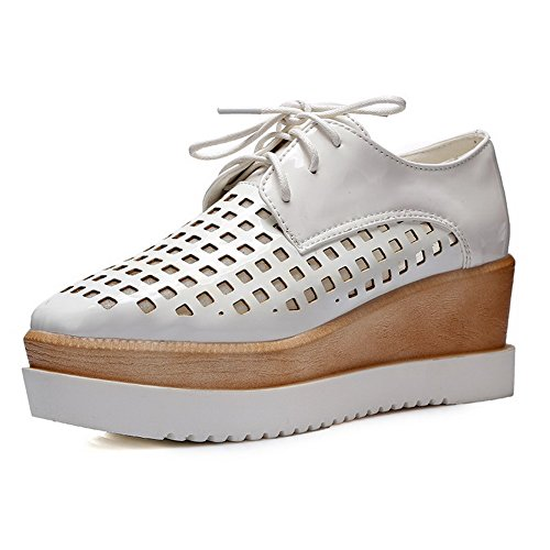 Solid toe Platform Closed Pumps Material Wedge White Women's Soft with WeiPoot shoes and qycptXw