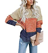 Biucly Womens Knit Sweaters Color Block Long Sleeve Ribbed Loose Pullover Tops