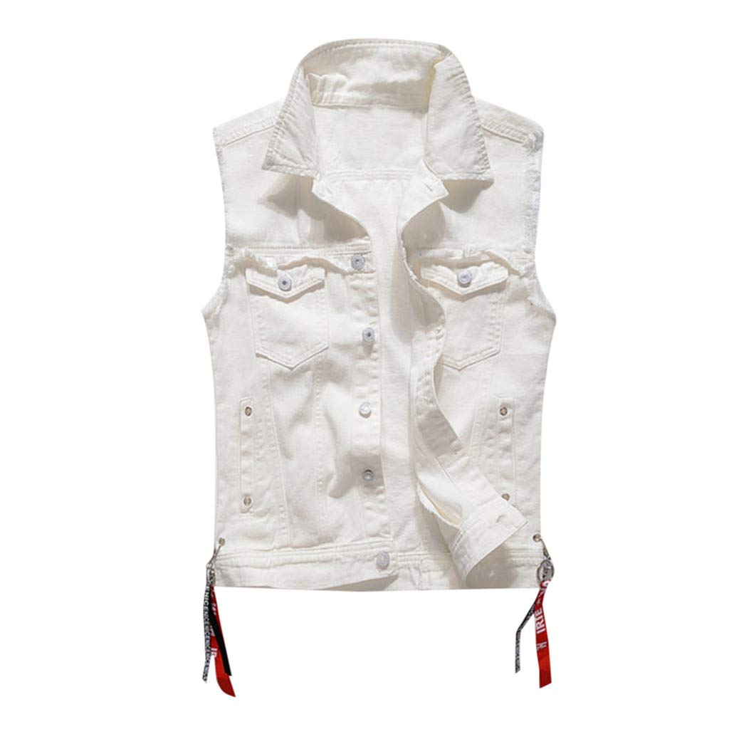 Allywit-Mens Jacket,Regular Fit Casual Destroyed Ripped Sleeveless Denim Vest Tops Waistcoat Plus Size White