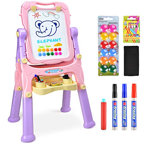 Amagoing Magnetic Easel for Kids, 4 in 1 Multifunctional Standing Art Easel Double Sided Quick Flip & Height Adjustable Drawing Board with Paper ()