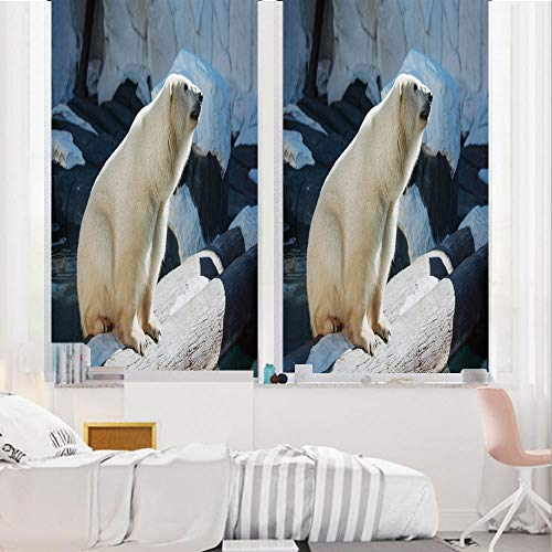 Zoo 3D No Glue Static Decorative Privacy Window Films, Polar Bear Wildlife Park Rocks Water Cold Climate Tourist Attraction Image Decorative,24