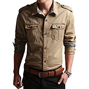 CHARTOU Men's Classic Retro Military Camouflage Lined Patchwork Shirt