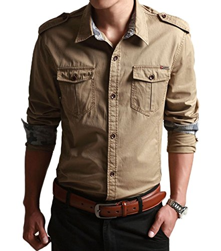 (Chartou Men's Classic Retro Military Camouflage Lined Patchwork Shirt (X-Small, Khaki))