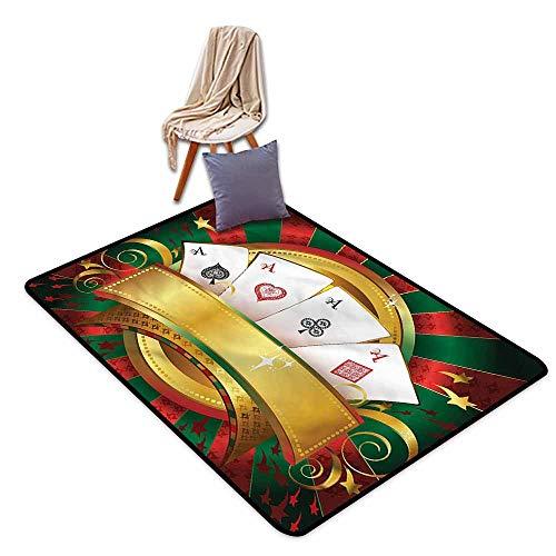 Kids Rug,Poker Tournament Fortune Card Stack,Super Absorbs Mud,3'11