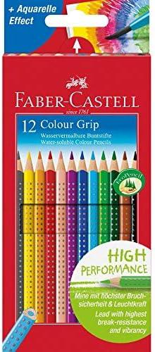 Faber Castell 112412 - Estuche de cartón con 12 Ecolápices triangulares de colores, agarre Grip, acuarelables, lápices escolares: Amazon.es: Oficina y papelería