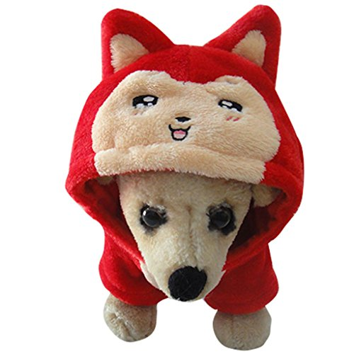 Gimilife PT Pet Costume Ali Red Fox Cosplay Halloween Funny Winter Coats For Small Medium Large Pet Dogs Cats (Red, (Funny Halloween Pet Costumes)