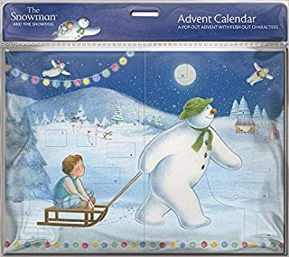 Advent Christmas Calendar with 24 Doors and White Envelope - Snowman Pulling Boy on Sledge 8.5 x 13 inches Medici (ACL0008) A Magical 3D Pop Out Advent Calendar with Push Out Characters
