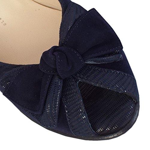 Heel Top Peep Detail Navy High Peter Shoe Suede Bow Kaiser Court xYaqRZI