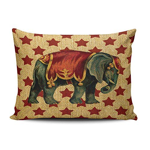 - Salleing Custom Beauty Design Vintage Circus Elephant on Stars Decorative Pillowcase Pillowslip Throw Pillow Case Cover Zippered One Side Printed 16x24 Inches