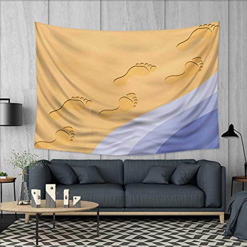 Anhuthree Modern Wall Tapestry Footprints Sand Realistic Print Near Ocean Waves Digital Image Home Decorations for Living Room Bedroom 80''x60'' Baby Blue Purple Green Apricot by Anhuthree