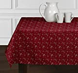 A LuxeHome Red and White Bandana Country Western 4th of July Patriotic Paisley Print Tablecloths Dining Room Square 60'' x 60''