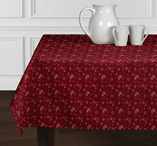 A LuxeHome Red and White Bandana Country Western 4th of July Patriotic Paisley Print Tablecloths Dining Room Square 60'' x 60'' by A LuxeHome (Image #2)