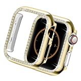Yolovie for Apple Watch Case 42mm, iWatch Cover with Bling Crystal Diamonds Shiny Rhinestone Bumper, Electroplated PC Hard Protective Frame for Apple Watch Series 3/2/1 Women Girl (Gold-Diamond, 42mm)