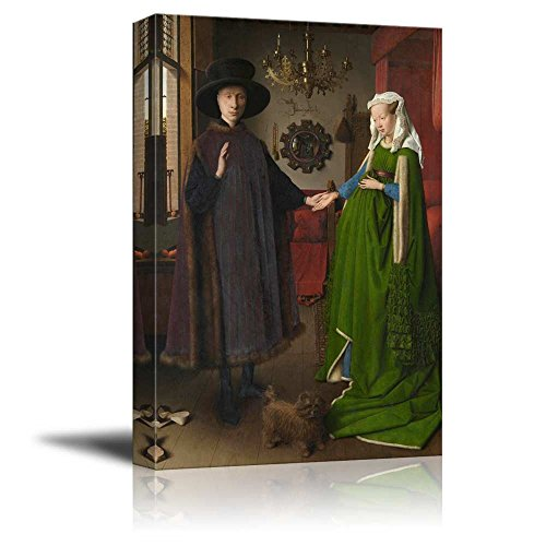Painting Fp Wood (The Arnolfini Portrait (or The Arnolfini Wedding, The Arnolfini Marriage) by Jan Van Eyck - Canvas Wall Art Famous Fine Art Reproduction| World Famous Painting Replica on Wrapped Canvas Print Modern Home Decor Wood Framed & Ready to Hang - 24