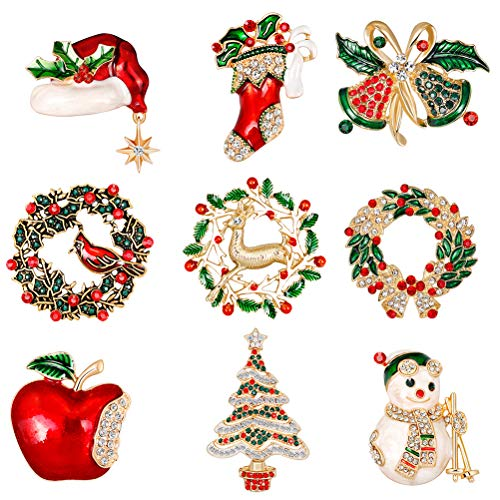 Christmas Pin Holiday (JUNKE 9-Pack Christmas Brooch Set Crystal Diamond Enamel Christmas Jewelry Xmas Gift Tree/Reindeer / Snowman/Holly Bird Wreath/Hat Holiday Brooches Christmas Stocking for Women Girls Kids)