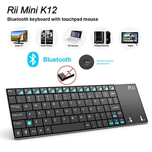 Rii K12BT Ultra Slim Portable Mini Wireless Bluetooth Keyboard with Large Size Touchpad Mouse,Stainless Steel Back Cover for PC,Surface Pro 2,3,Android iOS Tablet PC/Galaxy Tabs,Smart TV Box,Windows (Best Tablet For Xbmc)