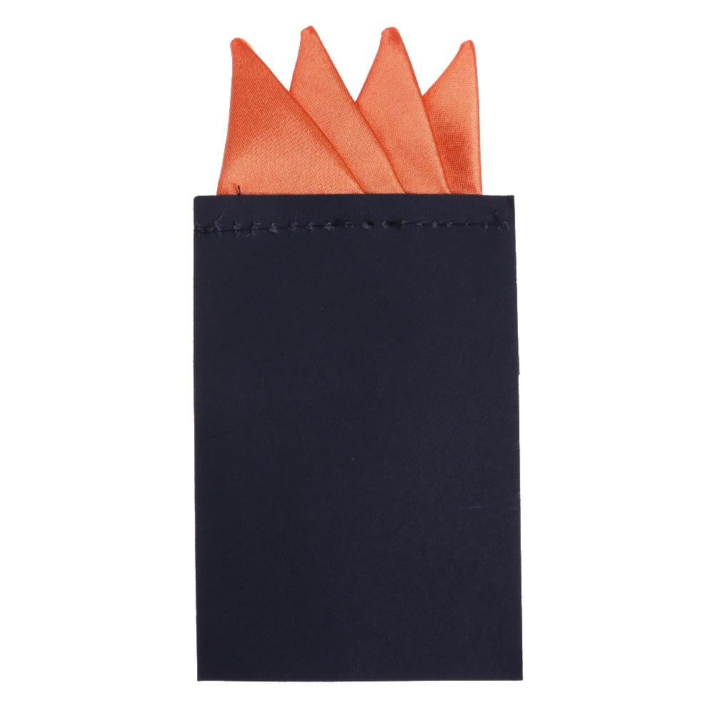 FINIFLY Simple Fashion, Men Formal Pure Color 4 Folds Pocket Square Pre-Folded Handkerchief(Orange)