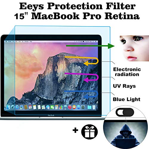 Eyes Protection Filter Fit 2015 2014 2013 2012 MacBook Pro 15 A1398 Anti Blue Light Anti Glare Screen Protector, Reduces Digital Eye Strain Help You Sleep Better -