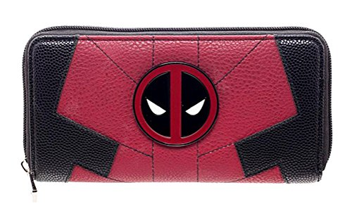 Marvel Comics Deadpool Juniors Suit Up Zip Around Wallet,Red & Black,One Size