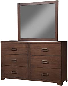 Alpine Furniture Savannah 6 Drawer Dresser, Pecan