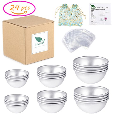 Duzcli 12 Sets DIY Metal Bath Bomb Mold with 24 Pieces 3 Sizes,100 Packs 6 X 6 inch Shrink Wrap Bags,2 Pieces Gift Bags for Crafting your Own Fizzles(Instructions Included)