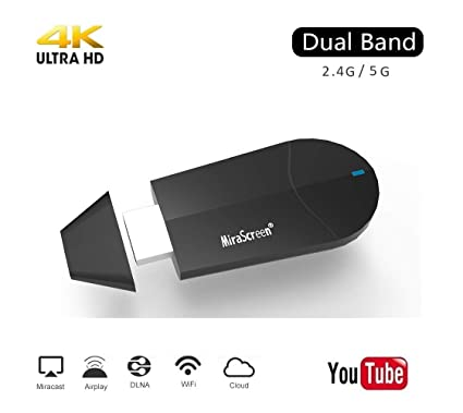 Mirascreen Wireless Display Adapter, SmartSee WiFi HDMI Converter Dual Core  H 265/HEVC Decode HDTV Stick Support 4K/1080P Resolution Miracast Airplay