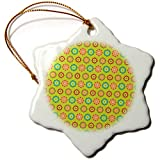 3dRose Anne Marie Baugh - Patterns - Cute and Colorful Mexican Flowers Pattern - 3 inch Snowflake Porcelain Ornament (ORN_295468_1)