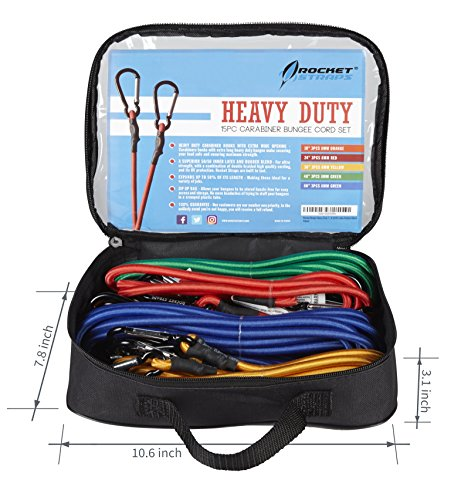 Rocket Straps | 15PC Bungee Cords with Hooks - Aluminum Carabiners | Bungee Cord Set Includes | Bungee Cords & Carrying Bag - A 50/50 Latex Rubber Blend for Extreme Strength by Rocket Straps (Image #3)